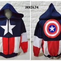 Jaket Anak Cowok Laki Captain America Blue Navy - JKKDL74 - M, L, XL