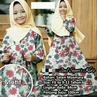 Baju Gamis Syari kids motif bunga/maxmara/hijab anak perempuan