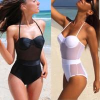 Women One Piece Swimsuit Push Up Padded Bikini Monokini Swimwear White