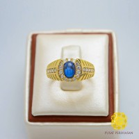 Cincin Batu Akik Wanita Asli Blue Safi Emas 750 Swarovski Crystal