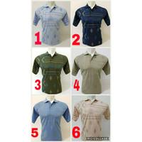 Kaos Katun Kerah Krah Murah Motif Garis Batik Plus Saku dan Kancing