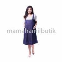 Baju Hamil Dress Menyusui Kodok / Overall Salur Kaos - DRO 732