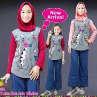 288-1 Baju Setelan Muslim Anak Perempuan LP Cat Celana Kulot Garis