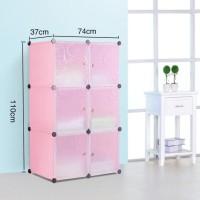 Lemari pakaian rak serbaguna susun plastik lemari baju 6 pintu - Merah Muda