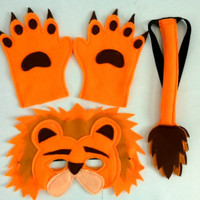 Kostum Hewan / Animal : Singa / Lion (topeng/mask, ekor/tail, tangan)