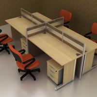 Meja Kerja Partisi Kantor Work Station Ruang Kerja 4 Orang WS4 seri 3