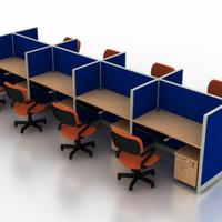 Meja Kerja Partisi Kantor Work Station Ruang Kerja Cubicle 8 Orang MD8