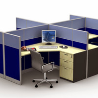 Meja Kerja Partisi Kantor Work Station Ruang Kerja Cubicle 4 Orang MD4
