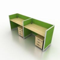 Meja Kerja Partisi Kantor Work Station Ruang Kerja Cubicle 2 Orang MD2
