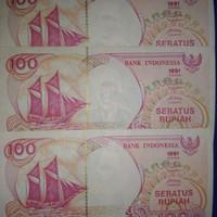uang kuno 100 perahu layar 1991