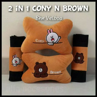 Bantal Mobil 2 in 1 Cony brown line character/Car set Headrest