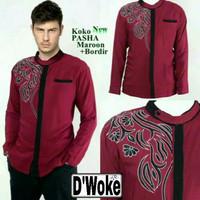 Baju Kemeja Koko Pasha Motif Batik Merah Maroon Maron all size fit L