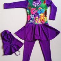 RNKD28 - Baju Renang Anak Muslim Little Pony (Ukuran XXL)