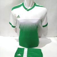 setelan olahraga kaos bola jersey futsal baju volly adidas putih hijau