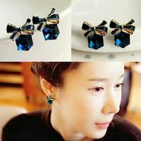 Anting fashion wanita simpul biru safir imitasi/imut simple/cantik