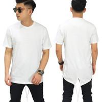Kaos long line polos pria/long line t shirt distro putih