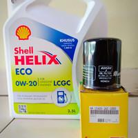 Paket Oli Shell Helix Eco 0W-20 + Filter Oli Honda Brio Satya