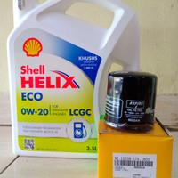 Paket Oli Shell Helix Eco 0W-20 + Filter Oli Datsun Go/ Go+ Panca