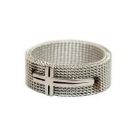 Cincin Salib Stainless Steel Jala 8mm - Cincin Rohani Pria - Aksesoris