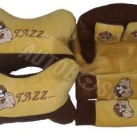 3 In 1 Bantal Bulu Jok Car Neck Pillow Tazmania Cokelat
