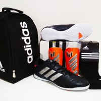 PAKET GRADE ORI Import Sepatu Futsal Adidas Nemeziz IC (Black White)