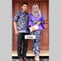 baju couple batik sarimbit rnb bahan katun warna ungu BSG630