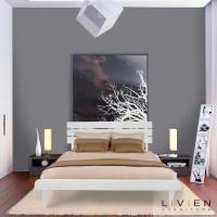 Bed Queen Aquilla Set White - Tempat Tidur - Ranjang - Dipan