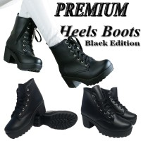 Sepatu Ankle Boots Wanita Kulit Sintetis / Boot Heels Cewek BD01 Hitam