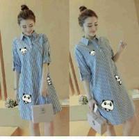 Mini Dress Panda Stripe Biru Longhem Kemeja Panjang terbaru Wanita