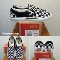 Sepatu Vans Slip On VAULT Black Grey White Original Premium Import