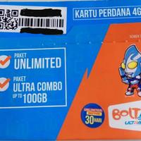 Kartu perdana internet bolt unlimited 30 hari/1 bulan 24 jam 4G LTE