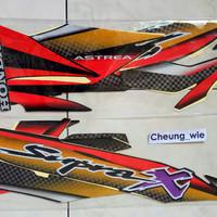 lis body/stiker/striping honda Supra X 100cc 2002 Hitam merah