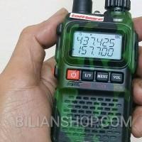 New HT Handy Talky Mini Baofeng UV 3R plus Hijau Loreng Dual Band uv3