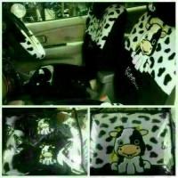 sarung jok mobil khusus honda brio motif sapy/moo hitam putih