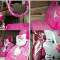 sarung jok khusus mobil agya/ayla motif hello kitty pink bintik putih