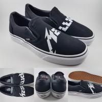 Sepatu Kets Vans Slip On X Metallica Canvas Black White Hitam Putih