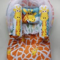 Kasur bayi kelambu lipat Motif jerapah Warna kuning Newborn