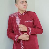 Baju Muslim Jasko Jas Koko Merah Baju Koko Lengan Panjang Baru JKH 127 - Maroon, XXL