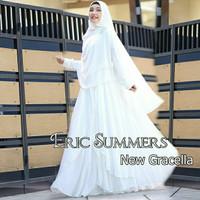 baju muslim wanita gamis syari ceruty premium polos/gracela putih