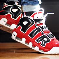 Sepatu Nike Air more Uptempo Black red white - Premium high quality