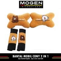 Car Set Bantal Mobil BROWN & CONY / Bantal Jok Mobil 2 in 1