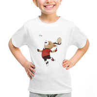 Kaos Baju Tshirt Anak Asian Games 2018 Maskot Badminton Putih