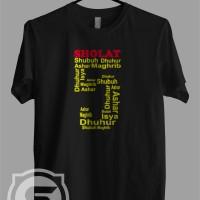 Kaos - Baju - T-shirt Dakwah Kata Kata Islami Sholat 5 Waktu - Putih, S