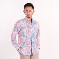 Batik Pria Tampan - Kemeja Slimfit Abs Spa Waved Marble - Merah Muda, XXL