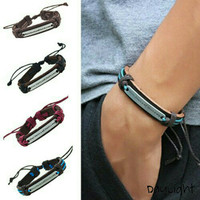 gelang kulit pria wanita couple leather bracelet with alloy