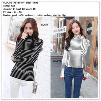 Baju Atasan Turtleneck Garis Blouse Korea Import AB733374 Hitam Putih