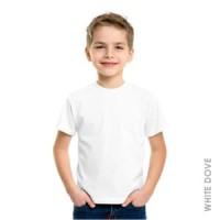 Kaos Polos Baju Anak Unisex Warna Putih Tangan Pendek - LPD05