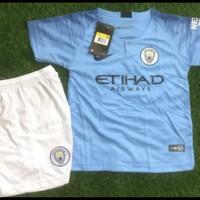 Setelan Jersey Anak Manchester City Home / Kaos Anak / Baju Bola Anak