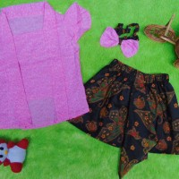 Setelan Baju Batik Kebaya Kutu Baru Bayi 6bulan-2tahun Plus Headband P