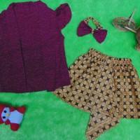 Setelan Baju Batik Kebaya Kutu Baru Bayi 6bulan-2tahun Plus Headband M
